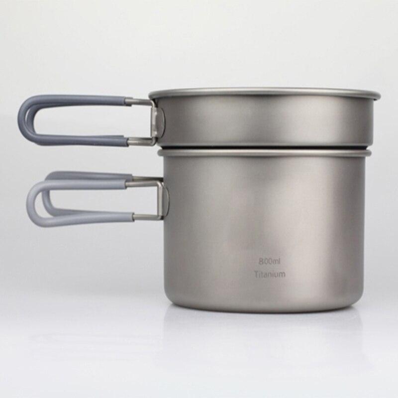 Кит Кемпинг Кулинария Набор Титановая Посуда 0.4L 0.8L Pot + Сковорода Набор Открытый Отдых На Природе Пикник Столовые Приборы Набор 168 г Ti6012