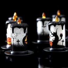 Halloween LED Candle Lights Colorful Flameless Fireplace Table Decorations For Celebration Party(Random color)