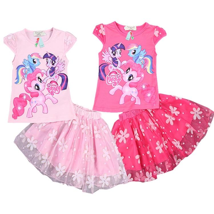 (2~7y)2016 high quality summer exclusive cartoon explosion my little pony Baoli girls flowers gauze skirt suit Kids Dress