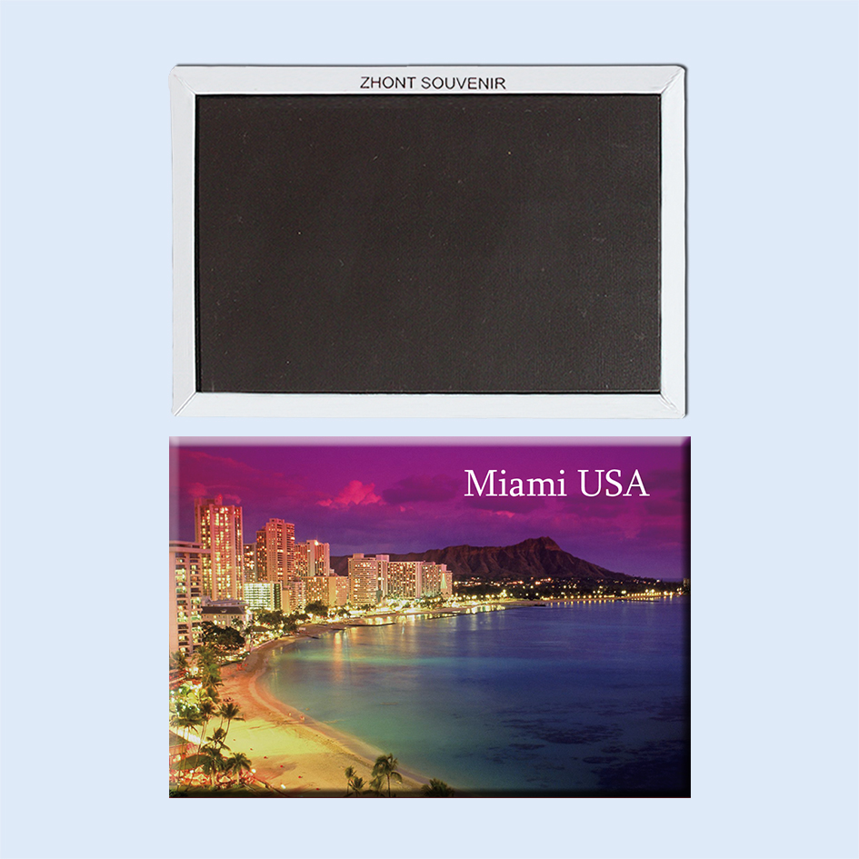 Night at the beach Miami Florida USA Travel souvenirs 22991 Magnetic refrigerator
