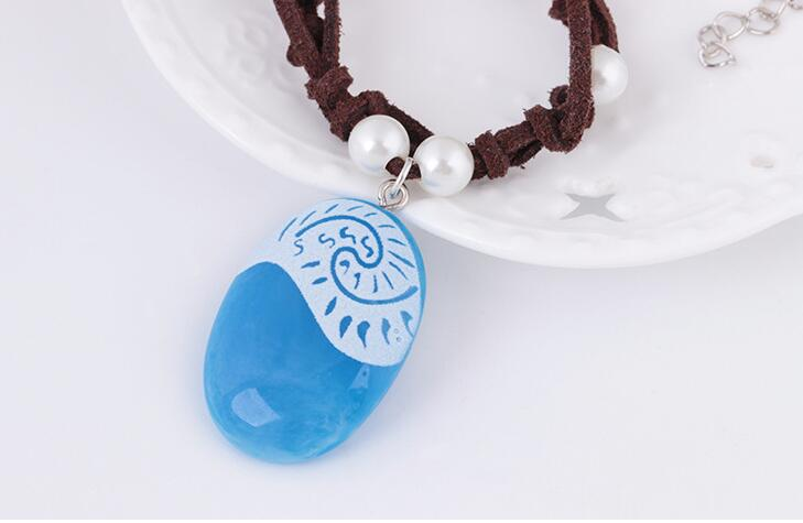 New LED Movie Vaiana Moana Princess Handmade Braided Leather Rope Necklace Pendant Cosplay Model Action Figure Kids Gift