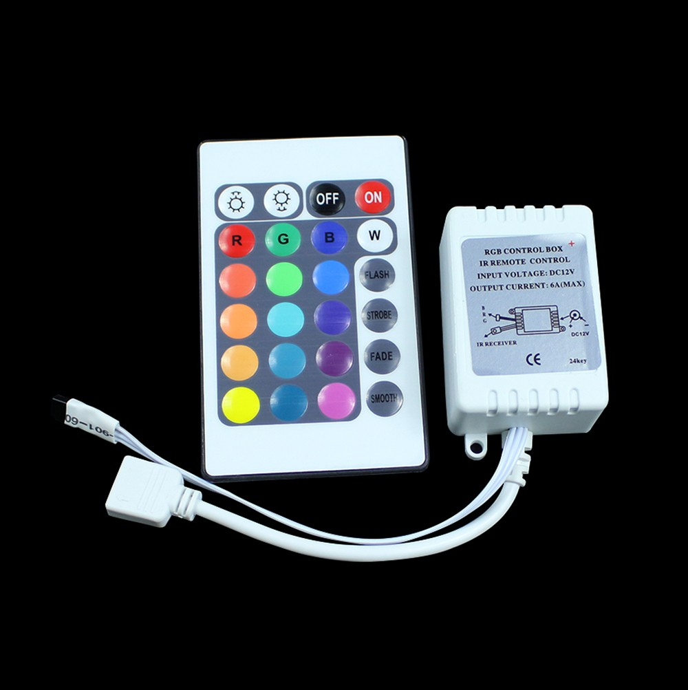 RGB Controler 12V 24 Key Wireless Led IR Remote Controller For 3528 5050 RGB LED Strip Light Free Shipping