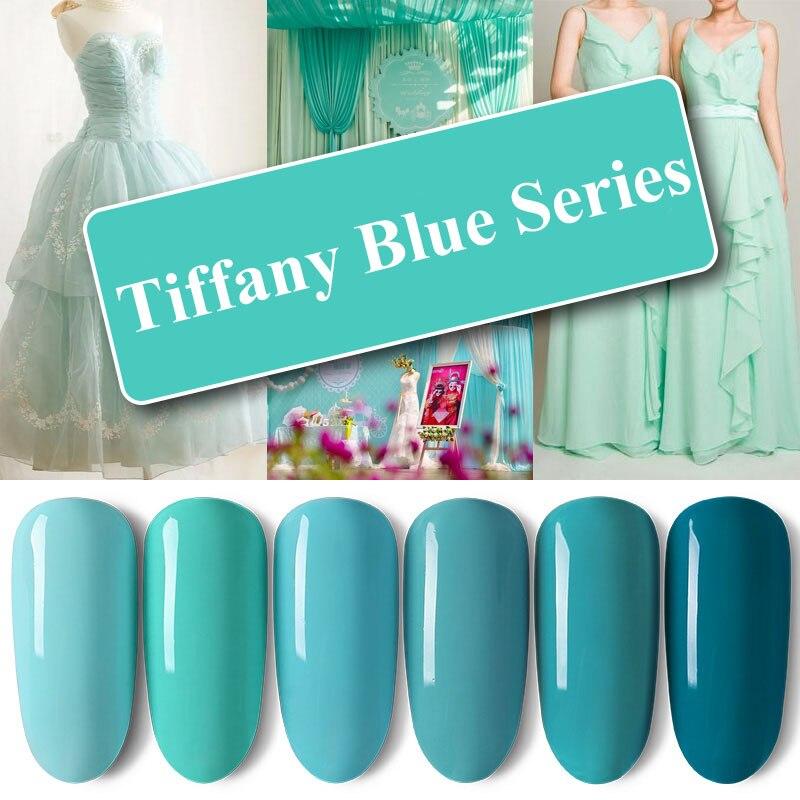 LANCELOT ART Nail Polish Gel Set Tiffany Blue Series Soak Off UV Varnish Gel Manicure Set Long Lasting Nail Polish Lacquer 8ml