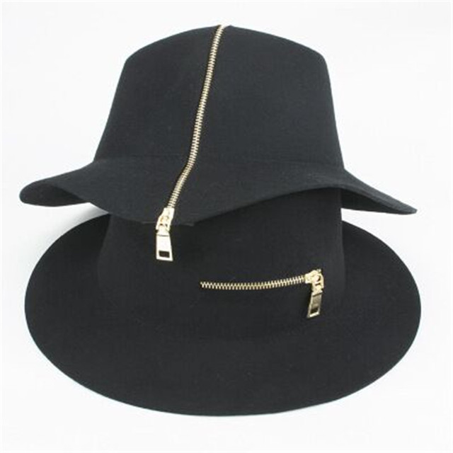 2016 Fashion New Women's Vintage Sun Beach Hat 100% Wool Ladies Floppy Wide Brim Wool Felt Cap Fedora Cloche Hat Cap black