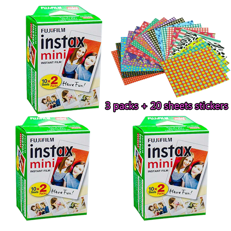High quality Original Fujifilm instax mini 8 film for 7S 25 8 50s 90 polaroid instant camera mini film white edage (60 sheets)