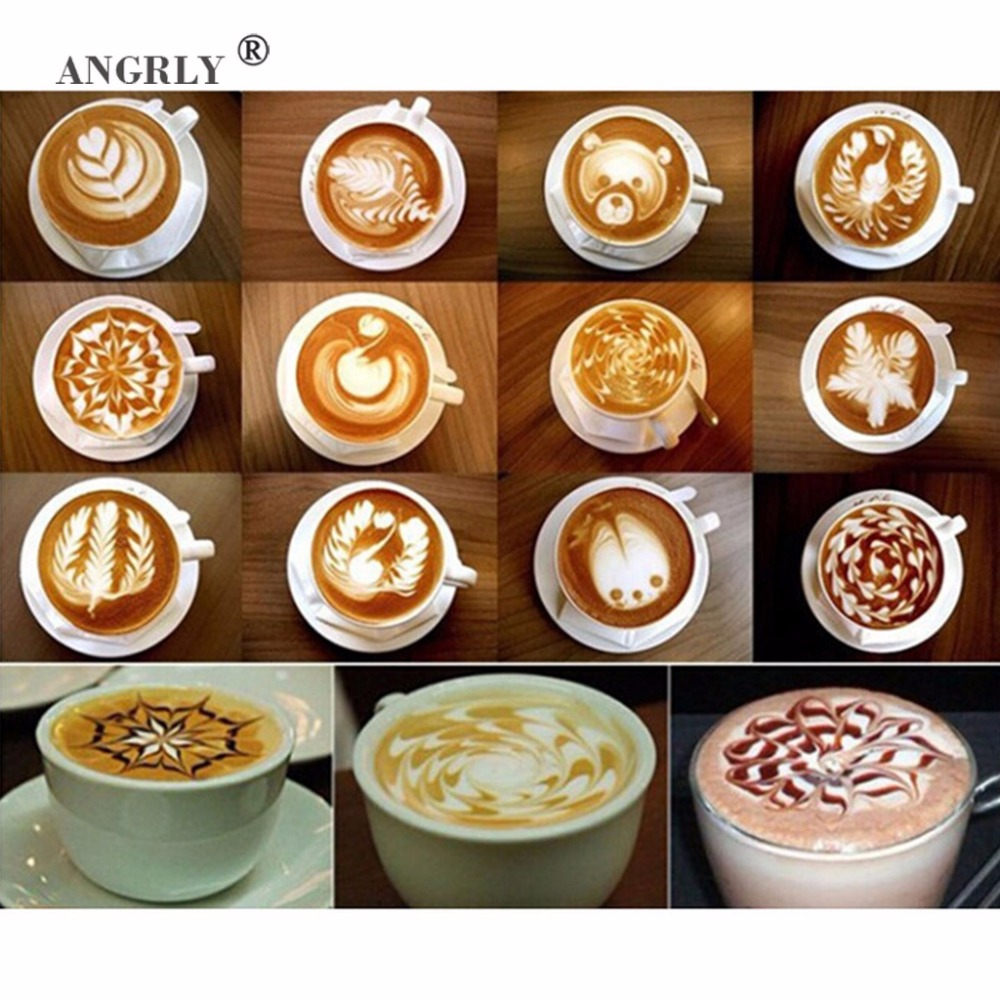 16pcs Plastic Garland Mold Fancy Coffee Printing Model Mould Thick Cafe Foam Spray Template Barista Stencils Decoration Tools in Coffee Stencils from Home Garden