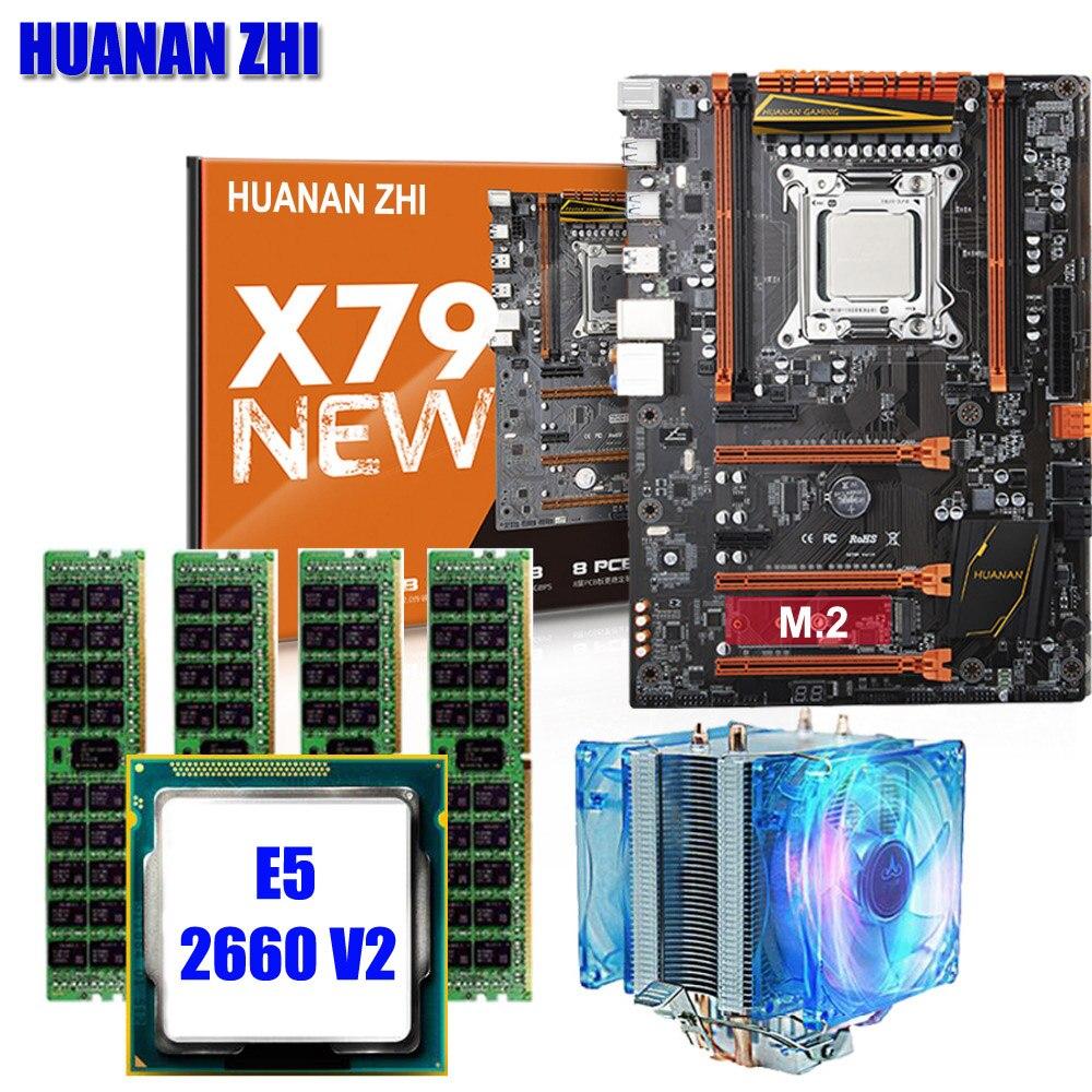 HUANAN ZHI X79 deluxe jeux carte mère CPU RAM avec refroidisseur Xeon E5 2660 V2 RAM 16G (4*4G) DDR3 RECC bâtiment idéal ordinateur