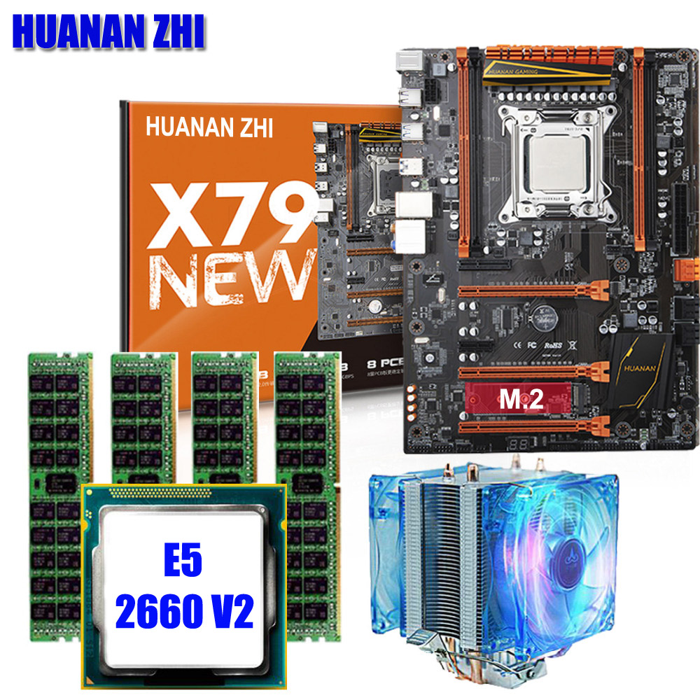 Qualité garantie brand new HUANAN ZHI X79 deluxe jeux carte mère avec M.2 NVMe CPU Xeon E5 2660 V2 RAM 16g (4*4g) DDR3 RECC