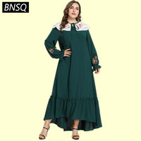 BNSQ Ruffles Draped Swing Patchwork Long Dress Young Lady Floral Embroidery Maxi Dresses Plus Size Drawstring Spring Autumn 2019