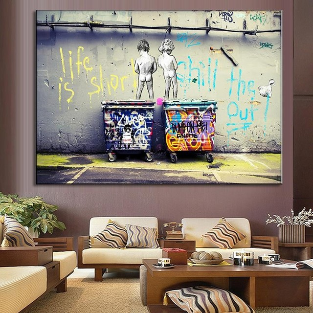 Unframe Canvas Prints Wall Art Banksy Life Is Short Chill The Duck Out Graffiti