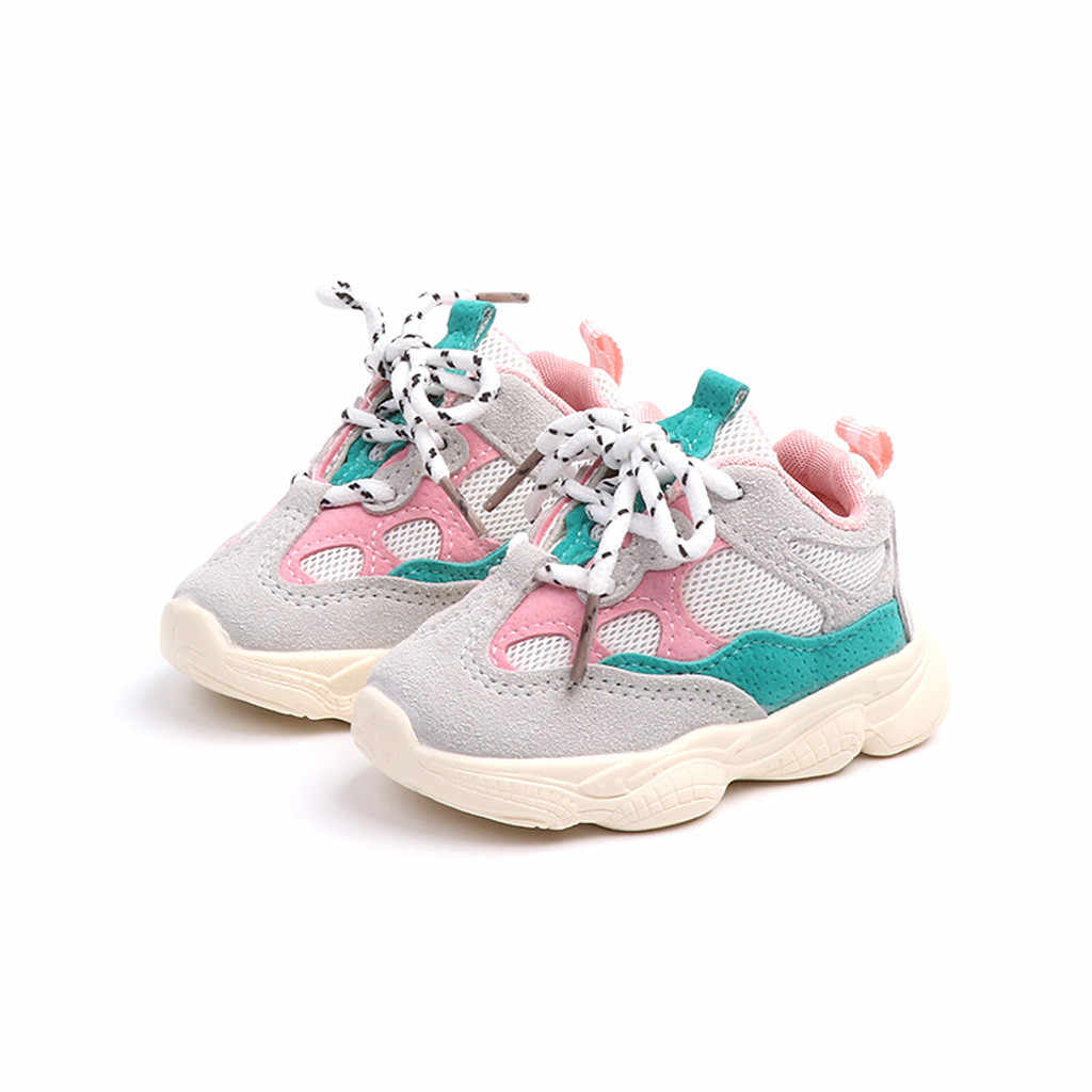 2019 New Toddler Infant Kids baby girl shoes Stitching Color Sneakers Running Sport Shoes calzado infantil детская обувь#A20