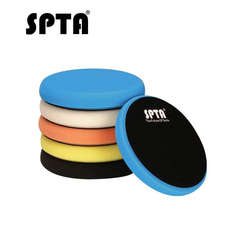 SPTA Car Polishing Pad 5 Inch 125mm Sponge Buffing Waxing Foam Car Polish Buffer Drill Wheels For Car Polisher Removes Scratches