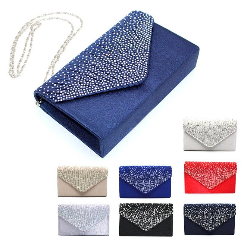 Simple Fashion Women Messenger Bags Solid Color Rhinestone Decoration Chain Handbag Ladies Party Clutch Bag LBY2017