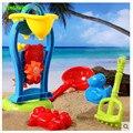Happyxuan 6 peças set crianças dos desenhos animados molde de areia brinquedo moinho de vento plástico chaleira de água pá play diversão ao ar livre para crianças presente