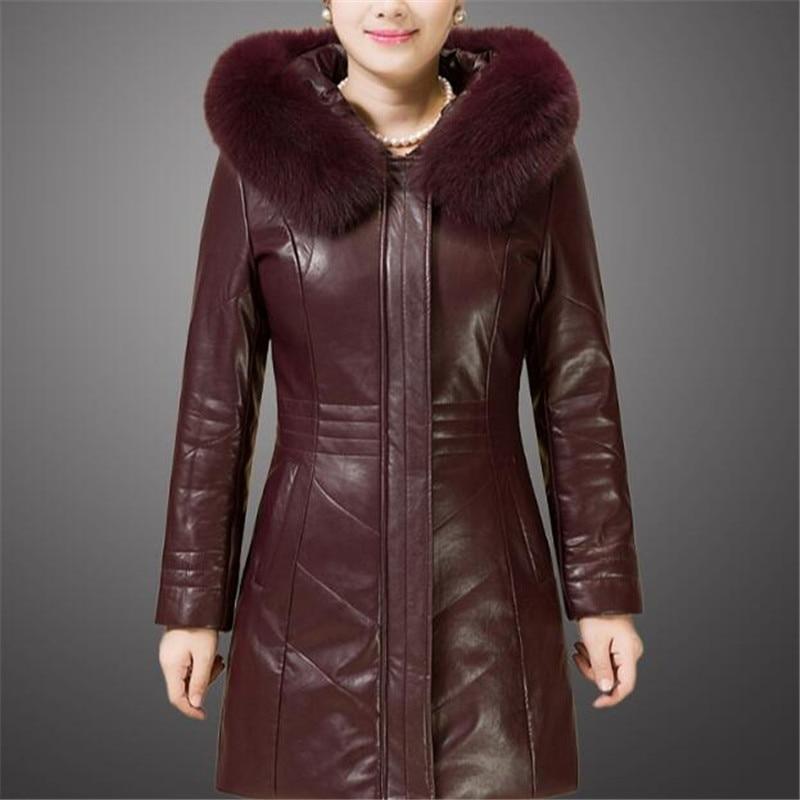 Женская кожаная обувь куртка 4Xl 5Xl 6Xl женские Pu кожаные пальто искусственной меховой воротник новый Mid-в возрасте дамы Wimter кожа Костюмы A3888