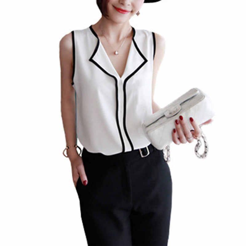 Naiveroo קיץ אופנה נשים שיפון חולצה חולצות צווארון V שרוולים טנק כבוי כתף מוצק משרד ליידי חולצות