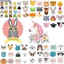 ZOTOONE Cute Unicorn Animals Iron on Transfer Patches Set Applications Fusible Patch Garment Thermo Stickers Applique Clothes