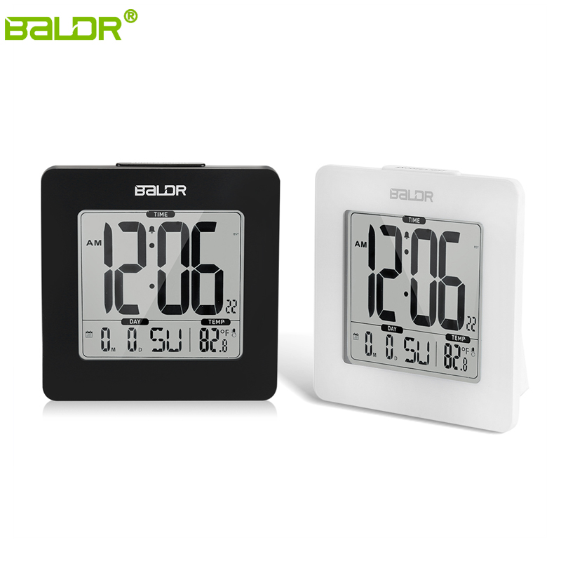 BALDR Blue Backlight LCD Atomic Alarm Clock Digital Thermometer Calendar Temperature Table Watch Snooze Timer Desktop Clock