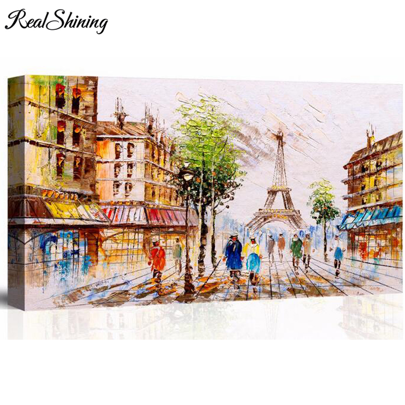 5D DIY Diamond Embroidery quot Retro City Street quot Diamond Painting Cross Stitch Large picture of rhinestones by numbers crafts FS4195 in Diamond Painting Cross Stitch from Home amp Garden