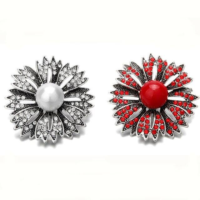 5 sztuk/partia Snap biżuteria Rhinestone kryształ perła kwiat 18 przyciski zatrzaskowe mm duży Snap dla srebrne skórzane Snap bransoletka przycisk biżuteryjny