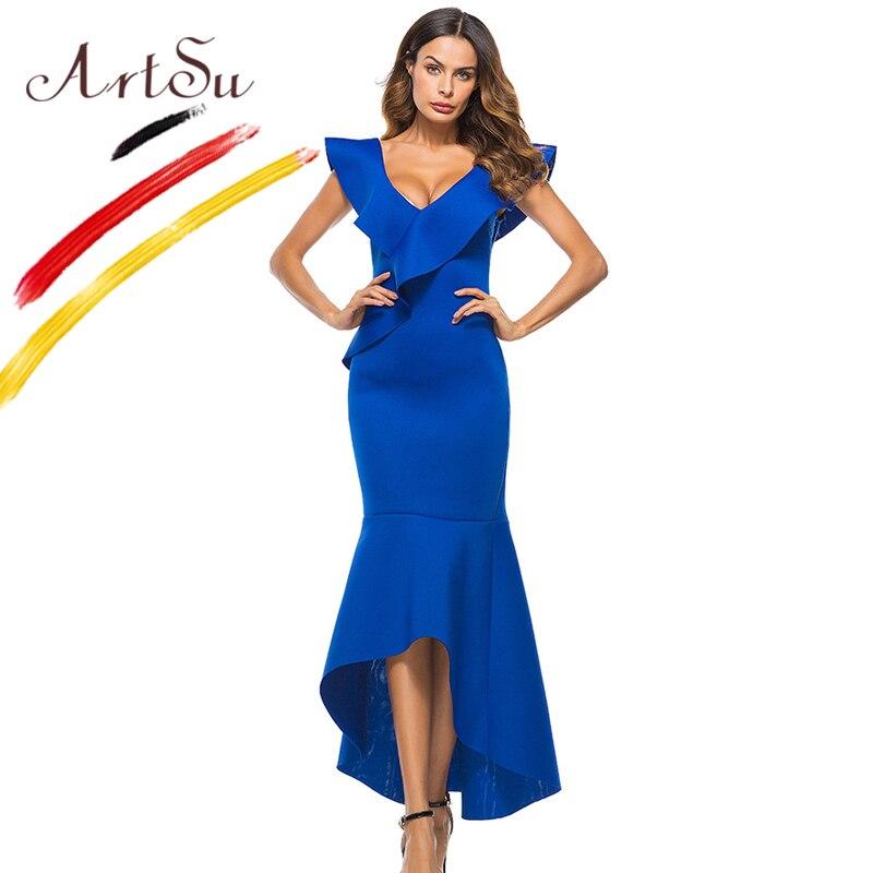 b3e6e448d4 ArtSu Mulheres Irregular Longo Sereia Vestido de Festa Vestidos de Branco  Azul Babados Decote Em V Sexy Vestido Sem Costas Fino Vestido Maxi Vestidos