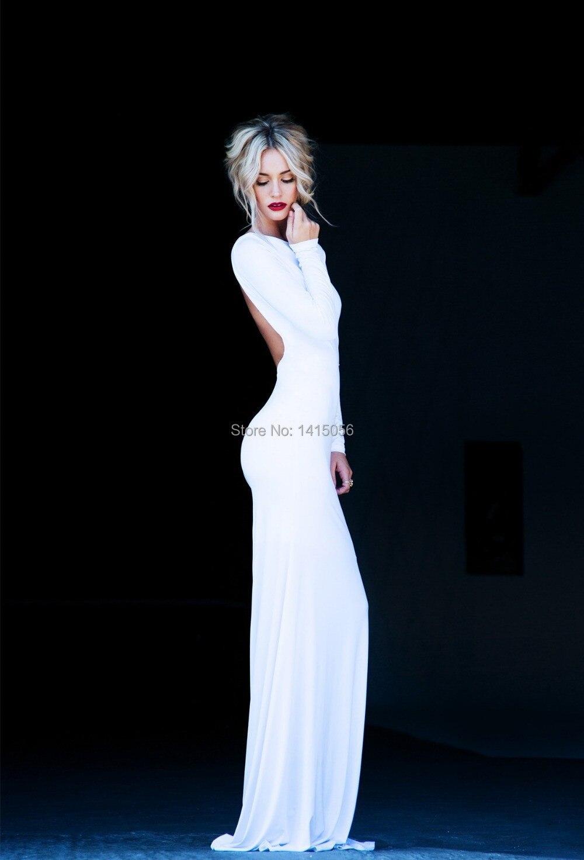 Fabulous Lurelly Monaco Long Sleeve Maxi Backless White Dress Low ...