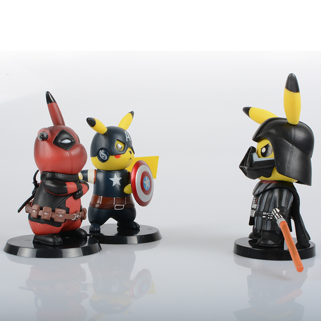 Deadpool Captain America Darth Vader Pikachu Cosplay PVC Figure Collectible Model Toy Small Size 8.5-11cm 3 Styles 2