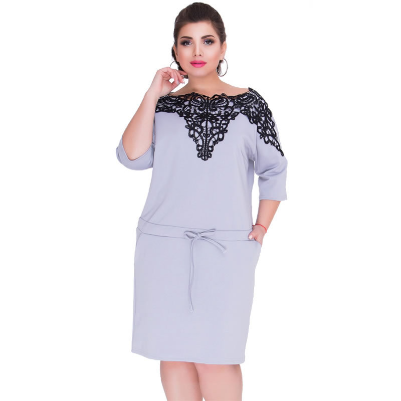 Women's Clothing Able Short Sleeve Lace Dresses Big Size 5xl 6xl New 2017 Summer Backless Large Size Dress Plus Size Women Clothing Loose Blue Dress Diversified Latest Designs