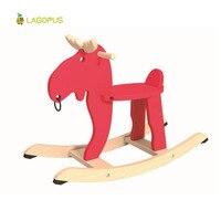 Kinderen Rockende Hond Niet-giftig Veiligheid Alle Massief Houten kinderen Educatief Speelgoed Kerst Herten Schudden Paard