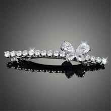 Beautiful Wedding Hair Accessories Shiny AAA Cubic Zirconia Butterfly Pattern Barrette Clips for Women F00021