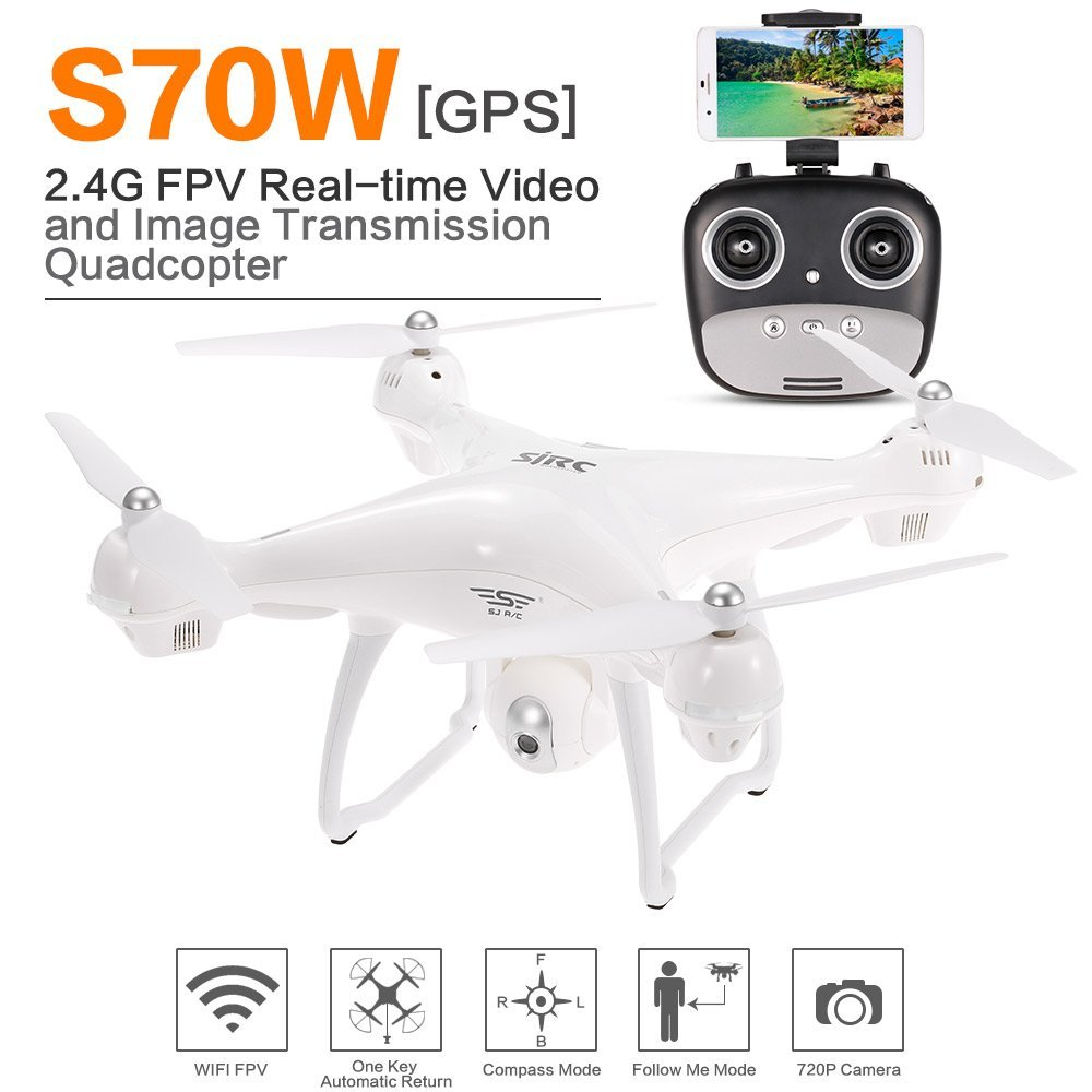 SJR/C S70W GPS Drone FPV Adjustable 720P/1080P HD Camera Wide Angle RTF Double GPS Positioning Altitude Hold RC Quadcopter Drone все цены