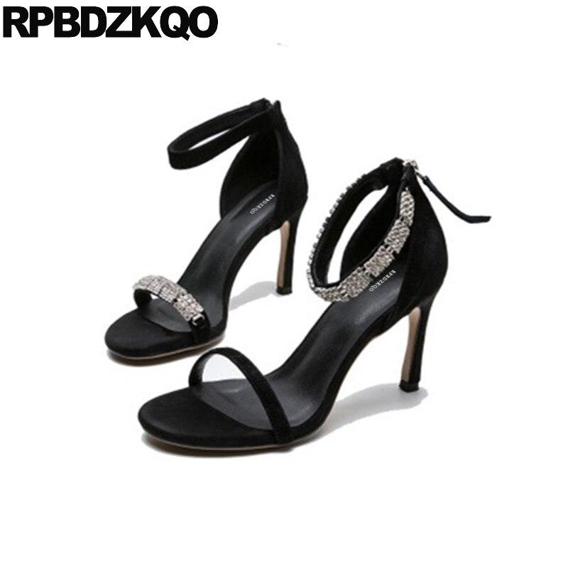 Здесь продается  Pumps Strap Stiletto Genuine Leather Crystal Designer Shoes Women Luxury 2018 Diamond Ankle Rhinestone Black Sandals High Heels  Обувь