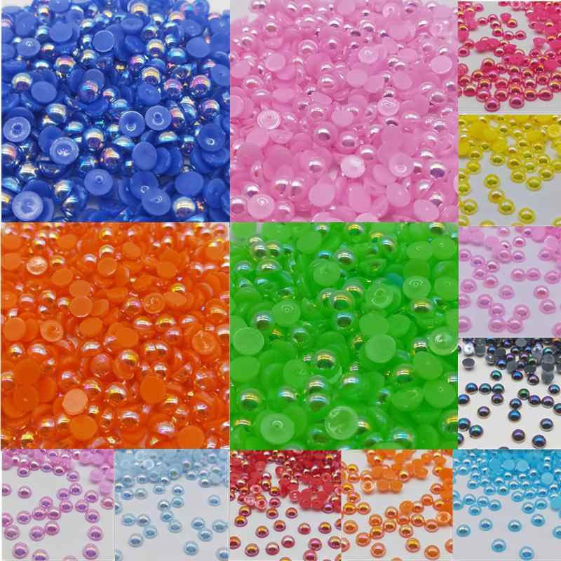 Cheap 6/8mm Beads Handicrafts Half Round Flatback Imitation Pearls Bead AB For Jewelry Making Women Nail Art DIY Accessories
