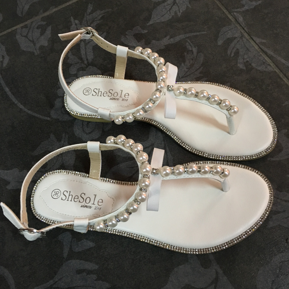 1af18e537982a White wedding flat sandals bridal pearl shoes women flip flops diamond  rhinestone pu leather beach beaded sandle Brand SheSole-in Women s Sandals  from Shoes ...