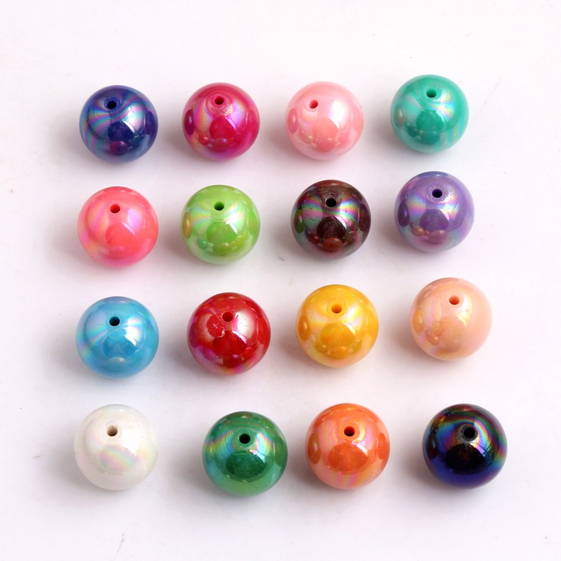 OYKZA Cheap AAA Quality  Chunky Acrylic Solid AB Bubblegum Beads For Fashion Jewelry  Necklace Making 8mm To 20mm