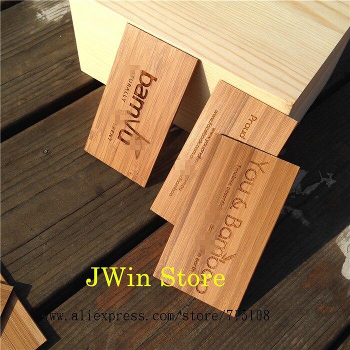 Gravure En Bois Carte De Visite Artisanat Bambou Nom Mode Sculpture Pour Commerciale Mle Femmes 100 Pcs Lot Dans Cartes Et Invitations