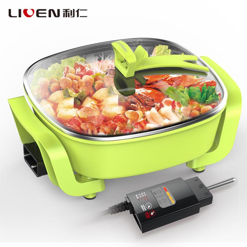 Aluminum Alloy Material Fashion Multifunction Electric Hot Pot Electric Skillet Three-speed Adjustment WashableAluminum Alloy Material Fashion Multifunction Electric Hot Pot Electric Skillet Three-speed Adjustment Washable