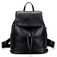 100% натуральная кожа женщины рюкзак большой Ёмкость черная кожаная сумка Женщины Школьный рюкзак Дорожные сумки