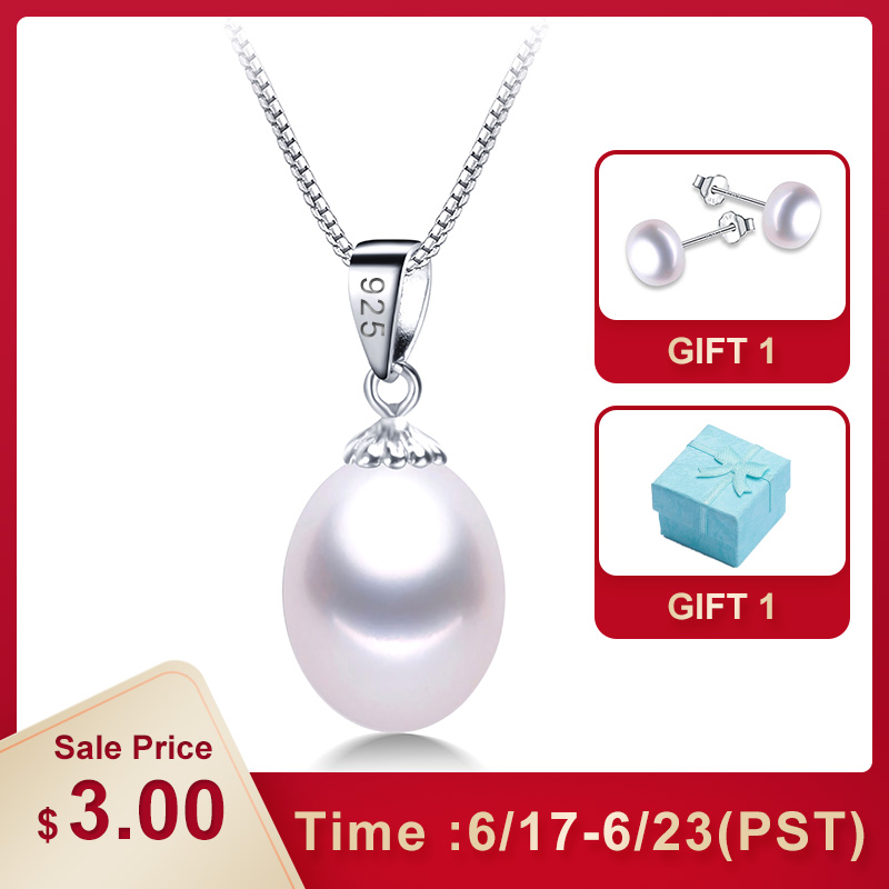 38669ca62833f7 AAAA Genuine Freshwater Pearl Pendants 8-9mm 925 Sterling Silver Necklace  For Women Wholesale Small Size Natural Pearl Jewelry ~ Top Deal July 2019