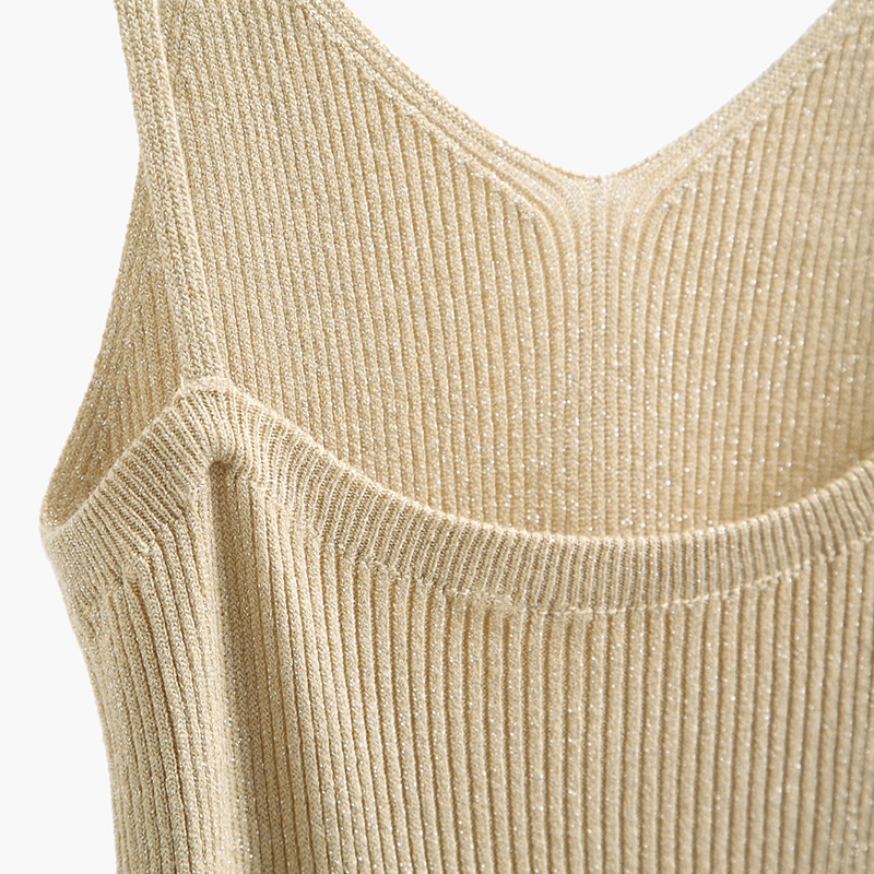 0ae99eb56ebbb CKnitted Tank Tops Gold Thread Top Vest Camisole