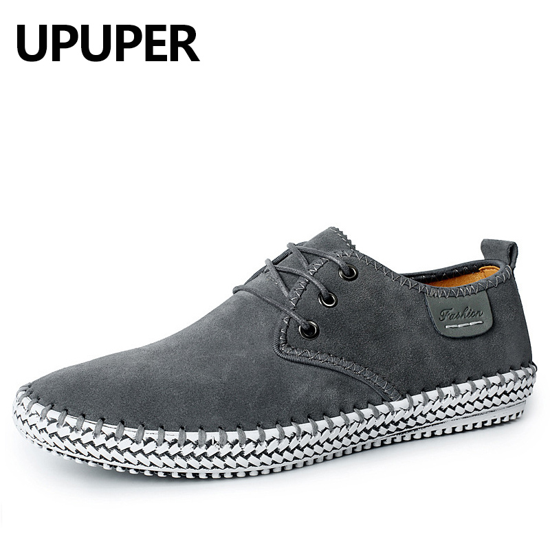 UPUPER Cow   Suede     Leather   Casual Shoes Mens Leisure Flat Spring Autumn Formal Casual Loafers Oxfords Lace-Up Soft   Leather   Shoes