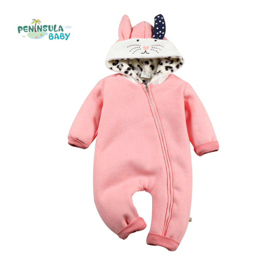 Baby Girls Boys Winter Baby Rompers Clothing Coral Fleece Cartoon Kitty Cat Hooded Newborn Toddler Infant Outerwear