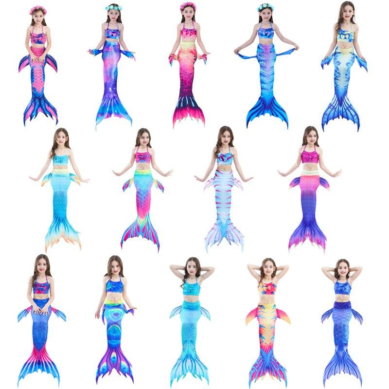 4 pièces/ensemble enfants nagables dianondes queue de sirène avec Monofin Fin filles enfants maillot de bain queue de sirène Costume pour les filles natation