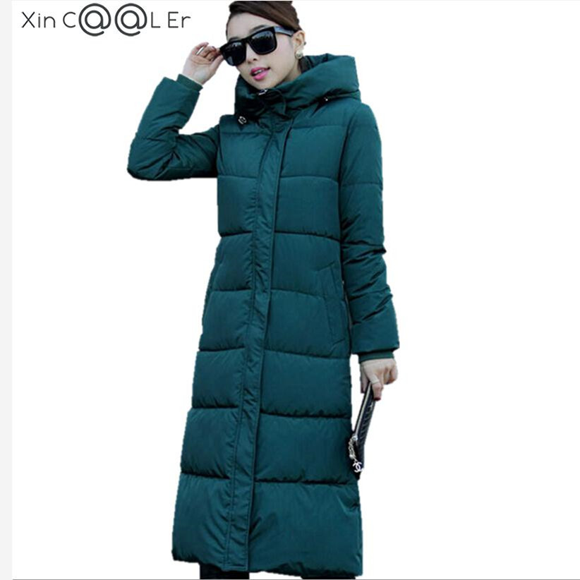 2019 High Quality Autumn Winter Design Women's Cotton Slim Zipper Coat Hooded Jackets Coats Overcoat Plus Size Down Parkas Black image
