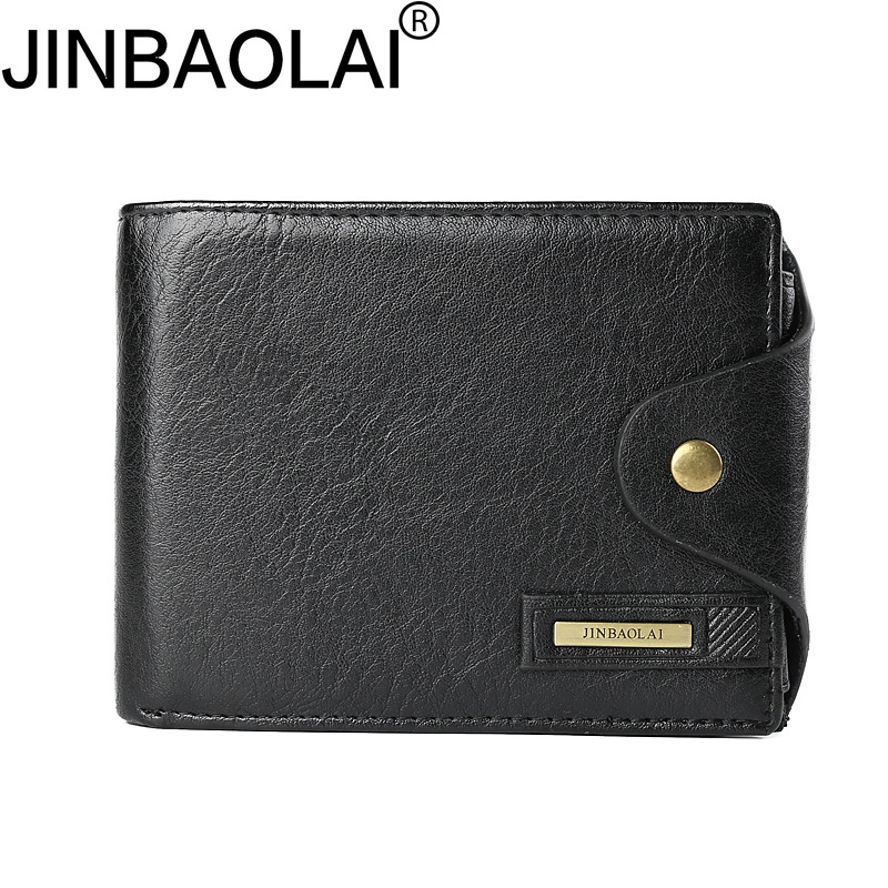 JINBAOLAI New Designer High Quality Leather Wallet Men ID Card Holder Hasp Coin Purses Pockets Card Holders Wallet for Men jinbaolai fashion genuine leather wallet bifold leather wallet id card holder zipper coin purse hasp short wallet for men s gift