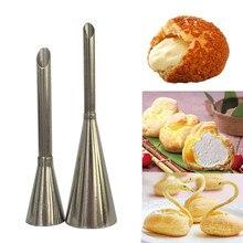 2 pçs sopro bico ponta de confeitaria de aço inoxidável bolo cupcake puffs injeção ferramenta russo dicas de tubulação de confeitaria sopro seringa