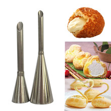 2pcs Puff Nozzle Tip Confectionery Stainless Steel Cake Cupcake Puffs Injection Tool Russian Icing Piping Tips puff Syringe