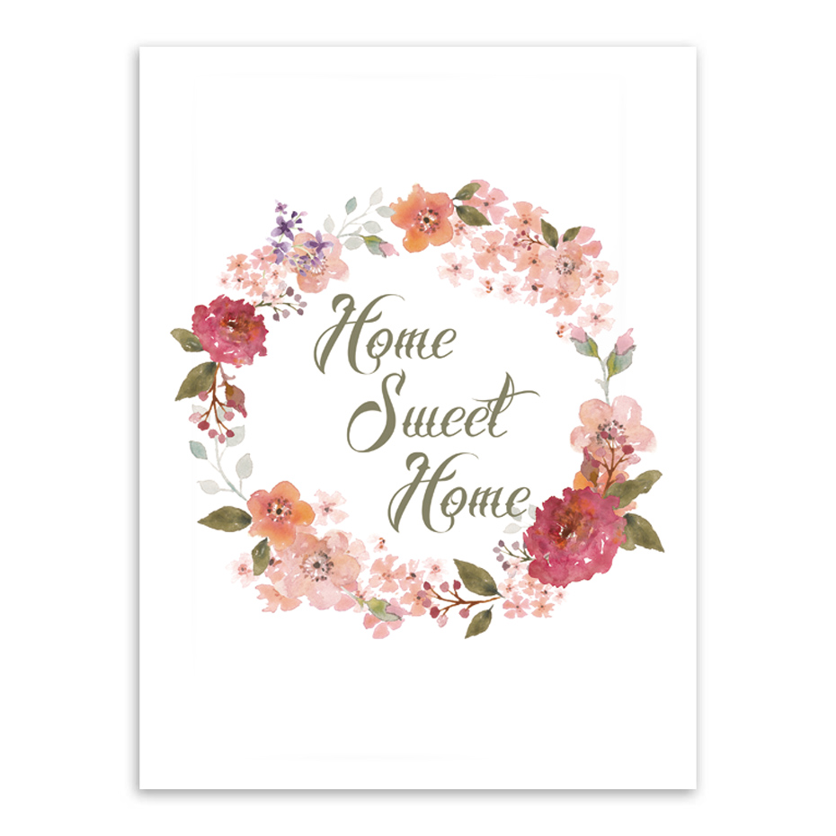 Beautiful flowers home sweet home quote canvas art print poster home beautiful flowers home sweet home quote canvas art print poster home decor living room wall picture kiss lip painting no frame in painting calligraphy izmirmasajfo