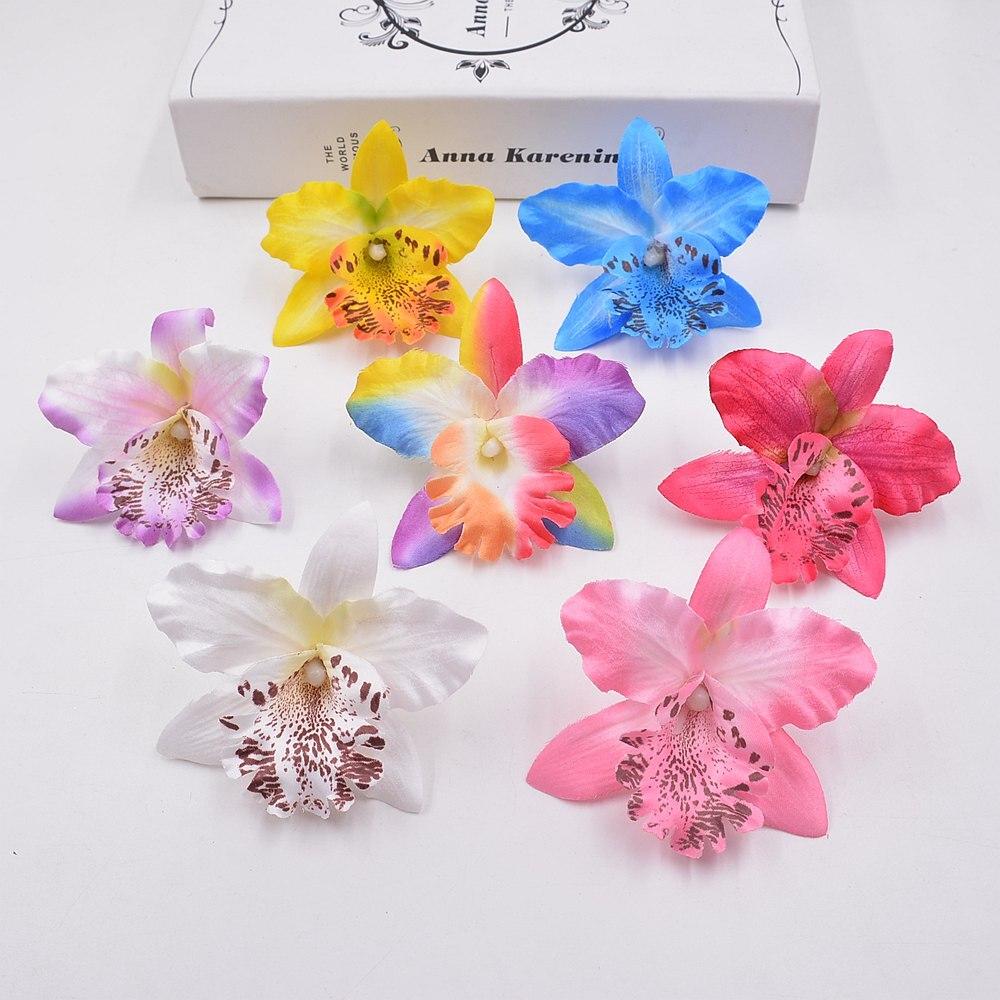ᐂ10 Pcs Soie Orchidee Glaieul Fleur Artificielle Pour Le Mariage