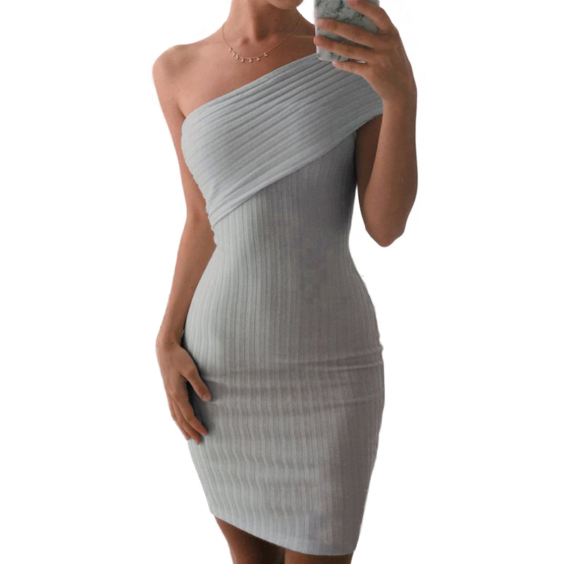 Sweater Bodycon Dress Sexy Robe One Off Shoulder Elegant High Waist Party Autumn Winter Midi Women Gray Knitted Vestido De Festa